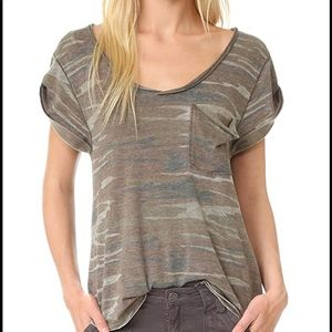 Free People camo distressed tee